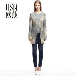 Wholesale OSA Autumn loose Casual alpaca cardigan Autumn women damen sweater Vintage wool Full Sleeve long Gradient knitwear SE429008