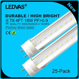 2017 cree llevó la garantía LEDVAS 25-Pack El bulbo de lámpara libre del tubo del envío 18W T8 LED SMD 2835 1800LM 1200m m 1.2m 4Ft AC85-265V enciende la iluminación Garantía de 2 años