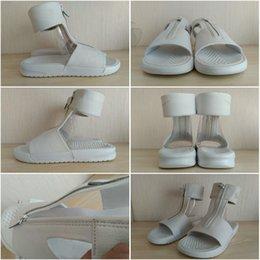 Wholesale Drop Shipping LAB Benassi Cuff Lux Slides Sandals White Leather massage Sandal Women ladies Sandals Size