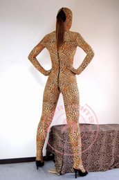 Wholesale-Sexy Leopard Long Zipper Around Crotch All-inclusive Siamese Tights Game Entertainment Alternative Pan-coating Dance Props