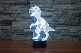 2017 New Design Dianosaur 3D Optical Lamp Night Light 9 LEDs Night Light DC 5V Colorful 3D Lamp