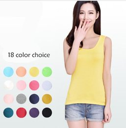 Wholesale Long Halter Vest - 18 Color Spring And Summer Cotton Women Vest Candy Color Halter Top Y Type Word Brandy Melville Tank Top