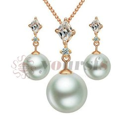 Yoursfs 18K Rose Gold Plated Ladyhood Pearl Necklace and Hoop Earring Use Austrian Crystal Bridal Jewelry Set
