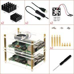 Raspberry Pi 3 & Pi 2 Model B & Pi B+ Experimental Desktop Starter Kit, (Transparent Case,ON OFF USB Cable, Heat sink,fan, etc) Two layer