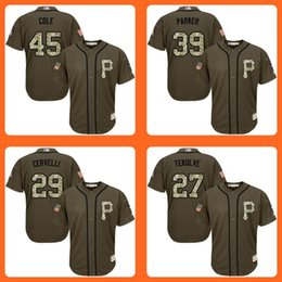 Wholesale Pirates Gerrit Cole Dave Parker Francisco Cervelli Kent Tekulve Green Salute to Service Stitched Baseball Jersey Top Quality