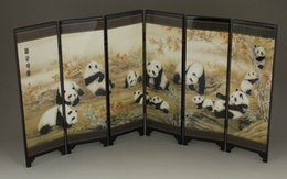 Wholesale From salewig to world GOOD CHINESE LACQUER HANDWORK PAINTING PANDA SCREEN SCROLL