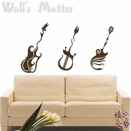 Wholesale bass guitar wall stickers decoration decor home decal fashion cute waterproof bedroom living sofa family house glass cabinet