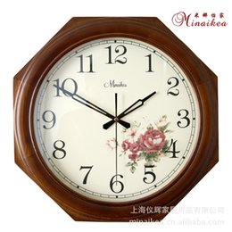 Wholesale Home decoration ideas anise wood rural silent sitting room bedroom fashion contracted quartz wall clock