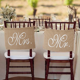 Wholesale Romantic Mr Mrs Burlap Chair Banner Set Chair Sign Garland for Rustic Wedding Party Chair Decoration