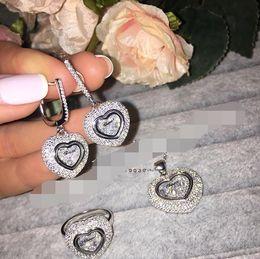 925 ensembles de mariée à vendre-2016 Bijoux New Incroyable Shinny nuptiale bague Earring marque zircone Chopar de luxe pendentif Ensemble de bijoux Pour Wedding Party Soirée argent 925