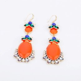 Wholesale Fluorescent orange big name model elegant earrings drop earring women earring Amercia Style Jewelry for Party