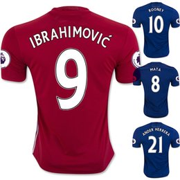 Wholesale IBRAHIMOVIC MAN Utd Soccer Jersey ROONEY Football Jerseys Tops Customized MATA Soccer Jersey Shirt FELLAINI Soccer WEAR