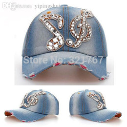 Wholesale Denim Snapback Hat Women Music Note Rhinestone Crystal Sunshading Baseball Cap
