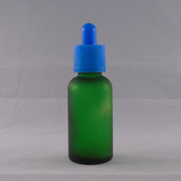 Cheap Dropper Bottles 30ml Green Frosted E Liquid Glass Bottle circular with Color Childproof Cap Free shipping