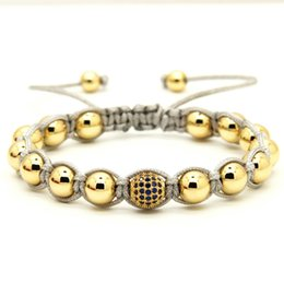 Wholesale 10pcs lot 18kt Top Quality Real Gold Plated Copper Beads 9mm Blue Micro Paved Blue Cz Beads Macrame Bracelet