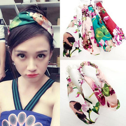 Wholesale 5Pcs Summer Geranium Flowers Women Silk Satin Cross Head Band Makeup Cosmetic Shower Elastic Headband