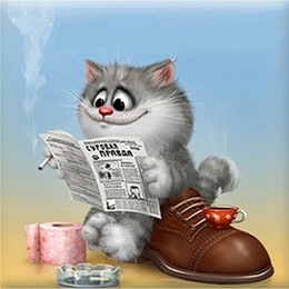 Wholesale Read Newspaper Cartoon Cat Pure Hand Painted Modern Home Decor Wall Art Oil Painting Canvas customized size accepted aliANNI