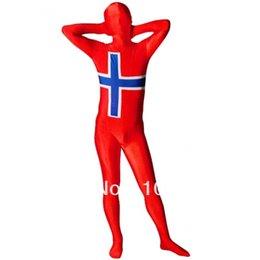 Wholesale-Norway Flag Zentai Suit fullbody Moph Zentai Costume Halloween Party Suit High Elasticity Spandex Costume