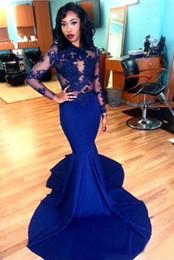 Royal Blue Long Lace Evening Dresses 2016 Sheer O-neck Applique Long Sleeve Floor Length Stretch Satin Mermaid Prom Dresses Arabic