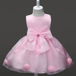 Fashion Elegant Bow TUTU Dresses For Baby Girls Costume Clothing Formal Toddler Sleeveless Solid Lace Princess Vestidos Kids Clothes