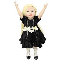 Wholesale Lovely Inch Full Body Vinyl American Girls Realistic Reborn Dolls Wearing Dark Dress Toddlers Birthday Xmas New Year Gift