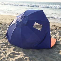 Wholesale Sand Sun Shade Outdoor Protect Portable Blue Beach Umbrella Weather Shelter