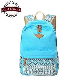 Wholesale CAIBAOWANG Lightweight Polka Dot Canvas Bookbags School Backpack Travel Bag Rucksack For Teen Girls