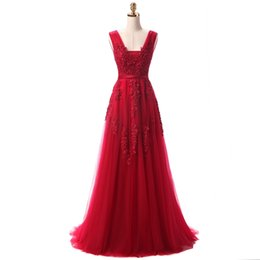 2017 Red Evening Dresses Cheap Plus Size Burgundy Prom Dresses V-neck Backless Zipper Back Tulle Lace Floor-length A-line Sexy Evening Gowns