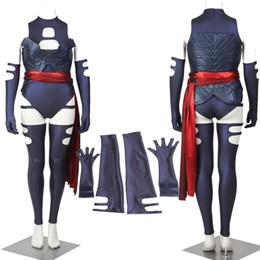 Wholesale 2016 HOT Movie X Men Apocalypse Psylocke Revanche Cosplay Costume Halloween Per Le Donne Adulte Sexy Skintight