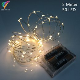 Promotion des vacances mini-lumières Gros-9 couleur 5M 50leds lampe Fée Guirlande lumineuse à piles Mini LED décoratif couleur Argent Cuivre Fil d'éclairage de vacances