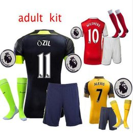 Wholesale 2016 Gunners Sets Uniform Home OZIL WILSHERE RAMSEY ALEXIS GIROUD Welbeck Third Arsenals Jerseys Kits Suit With Short Socks