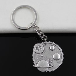 Wholesale Fashion diameter mm Key Ring Metal Key Chain Keychain Jewelry Antique Silver Plated solar system galaxy mm Pendant