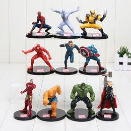 Wholesale 10pcs set The Avengers PVC Action Figures Toys Superheroes Hulk Wolverine Thor Spiderman Iron Man Quicksilver Ben Grimm Figure