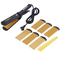 Wholesale Hot Professional Electric Hair Straightener Curling Straightening Flat Iron Styling Tool Set Differnt Perm Plates
