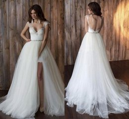 2016 Wedding Dresses with Detachable Train Sweetheart Lace Spring High-Low Wedding Gowns Tulle Vintage Wedding Dresses