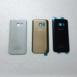 Wholesale Samsung Galaxy S7 G930 S7 Edge G935 Glass Battery Door Housing Back Cover Case Logo Sticker Retail DHL