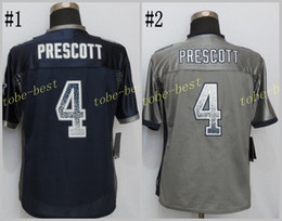 Wholesale Prescott Drift Fashion Blue gray Elite Football Jerseys Best quality Authentic Jersey Embroidery Logo Size M XL Can Mix Order