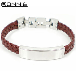 Fashion High Quality 316L Stainless Steel Clasp Weave Leather Bracelet Length Adjustable for Men Free Shipping SB00008