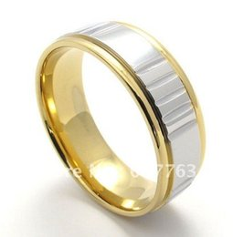 Wholesale 9MM Fashion Mens L Stainless Steel Comfort Fit Wedding Band Rings SZ Gold Silver or Black Silver Color For Choice