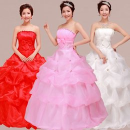 Strapless Ruffled Organza Ball Gown Wedding Dress 2017 Floor Length Wedding Gowns Pink Red Ivory Color