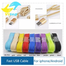 Wholesale 1 M Long Strong Braided USB Charging Cable For Smart Phones Samsung HTC Sony LG Micro USB Wire With Metal Head Plug USB