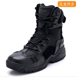 Wholesale Esdy Brand Designer Men Military Tactical Boots For Men s Outdoor Hunting Desert Black Motorcycle Army Combat Leather Shoes