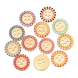 free shipping mixed 100 pcs 15mm 4-hole Painted wooden sunken four-hole buttons 15mm fine candy colored buttons