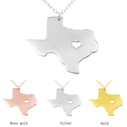 Wholesale Stainless Chain Usa - Fashion 1 PCS Texas Map Custom Necklace With Heart USA TX State Collier Heart I Love Texas Necklaces Map Geographic Wholesale necklace