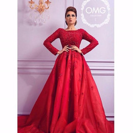 Arabia Red Evening Dresses 2016 with Long Sleeve A Line Crew Neck Floor Length Party Prom Gowns
