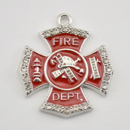 Wholesale 100pcs Single Side Fire Dept Badge Red Enamel Crystals Zinc Alloy Pendant Charm For Jewelry Making H108167