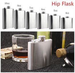 Wholesale Fashion Hip Flask Sizes oz oz Stainless Steel Pocket Retro Whiskey Flask Wine Bottle Liquor Screw Cap With Funnel