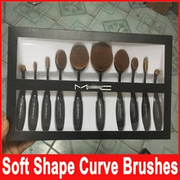 Wholesale Professional Brand Makeup brush Oval Toothbrush Shape Women Foundation Eye Shadow Blusher Soft Shape Curve Brushes Foundation Cosmetic Tools