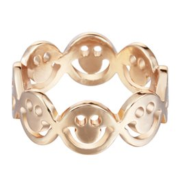 10pcs lot Gold Plated Happy Smile Face Rings Hiphop Smile Face Linked Rings for Women Anel Feminino Free Shipping