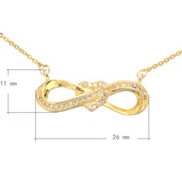 Infinite Love Charms Necklace With 1.5lnch Extender Chain CZ Micro Inlay Pendant Plated More Colors For Choice 26x11mm Length:21 Inch